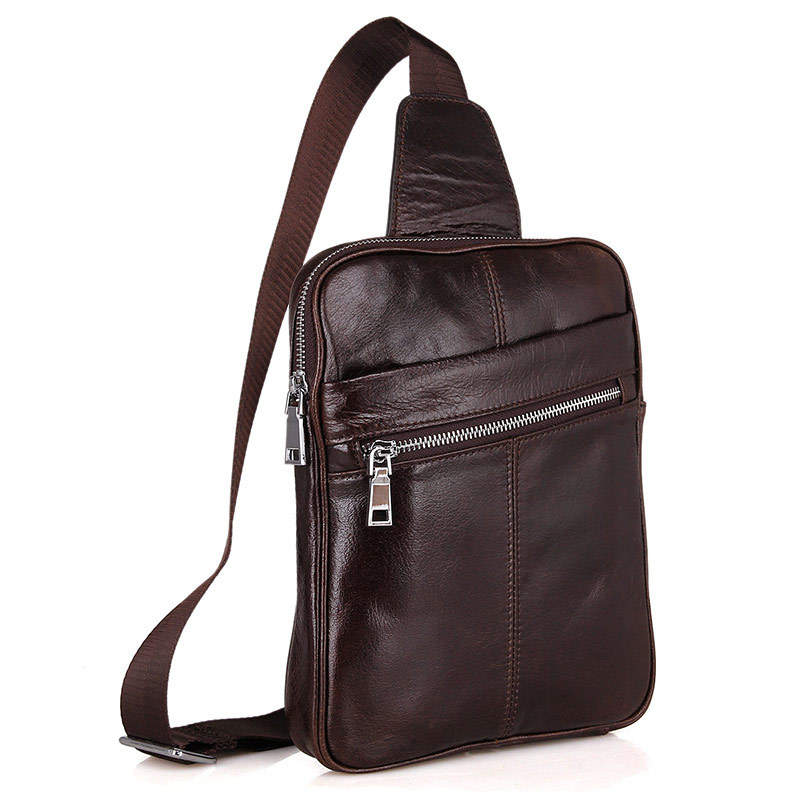 ФОТО Men Genuine Leather Chest Pack Vintage Chest Bag Retro Small Messenger Bag Male Oil Wax Leather Men Crossbody Shoulder Bag 5006