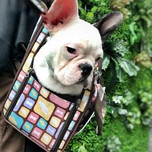 Image 4 - 高級キャンバス犬のキャリアバックパックバッグショルダーバッグペットリトルミディアム動物旅行屋外輸送ポータブルトート猫良い