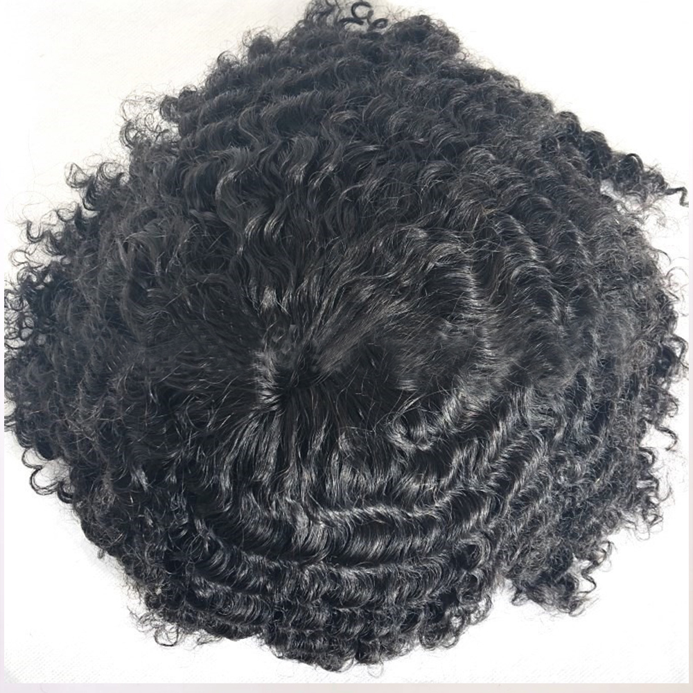 Deep Curly Lace Front Toupee Hair System Men Hairpiece Pu 360 Wave Afro Mens Toupee Hairpiece Human Hair Replacement For Men