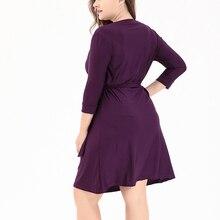 Big Size Woman Dress 5xl 6xl Elegant Vintage Vestidos 2018 Spring V-Neck 3/4 Sleeve Clothing Plus Size Open Placket Sashes Robe