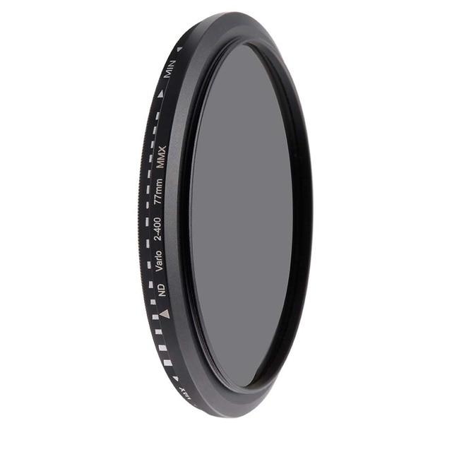 מצלמה מסנן אופטי זכוכית ND2 400 צפיפות ניטרלי מדעך משתנה ND מסנני מתכוונן 30mm 37mm 40.5mm 43mm 49mm אוניברסלי ND