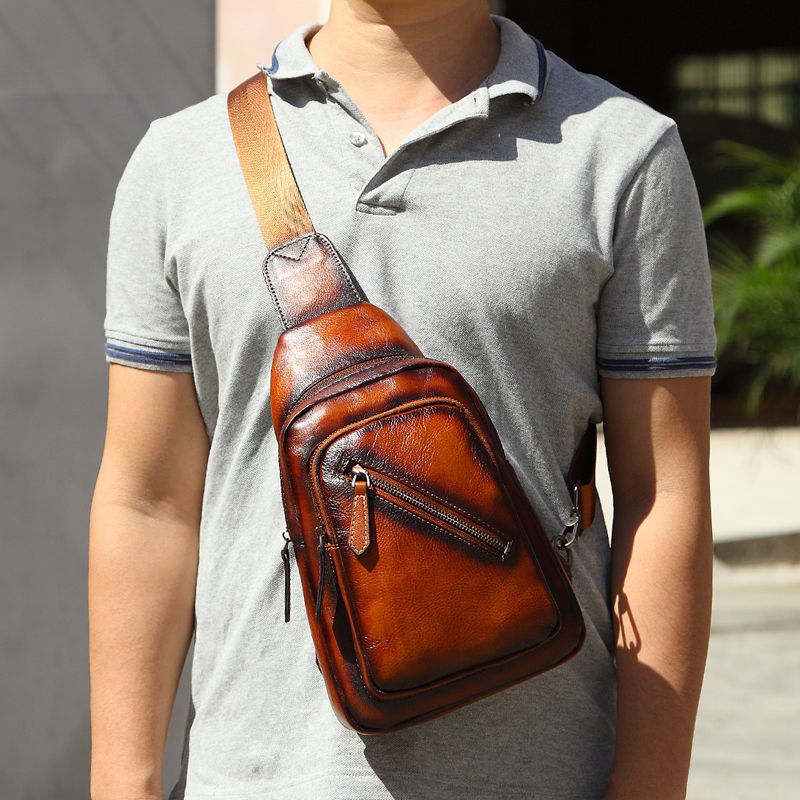 Men 's Cowhide F Chest Bags Genuine Leather Single Shoulder Pack High Quality Cross Body Bag For Man - 3