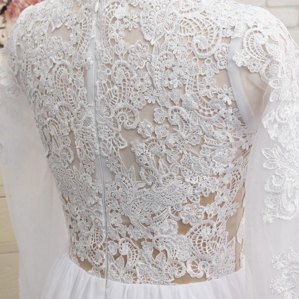 Sexy 2019 A lijn Sweetheart Kapmouwtjes Witte Chiffon Kant Slit Lange Elegante Prom Jurken Prom Gown Avondjurken Avondjurk - 6