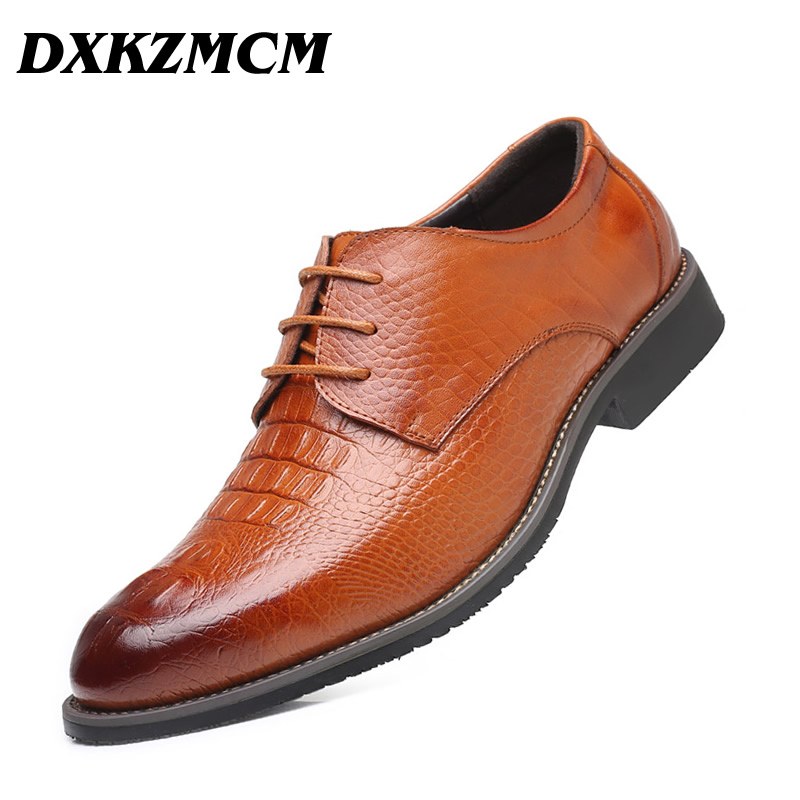 DXKZMCM Men Dress Shoes Handmade Split Leather Formal Business Men Oxfords Shoes Wedding Party Brogue Shoes new branded men s casual full grain leather oxfords shoes wedding dress shoes handmade business lace up brogue shoes for men
