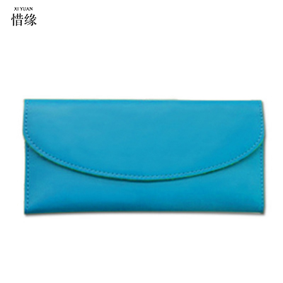XIYUAN BRAND 2017 Genuine Leather Women Wallet Long Purse Vintage Solid Cowhide multiple Cards Holder Clutch Fashion purses blue