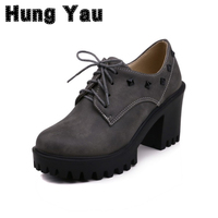 Hung Yau Black Heels Rivet Women Shoes Platform Creepers Thick High Heels Lace Up Shoes Mary
