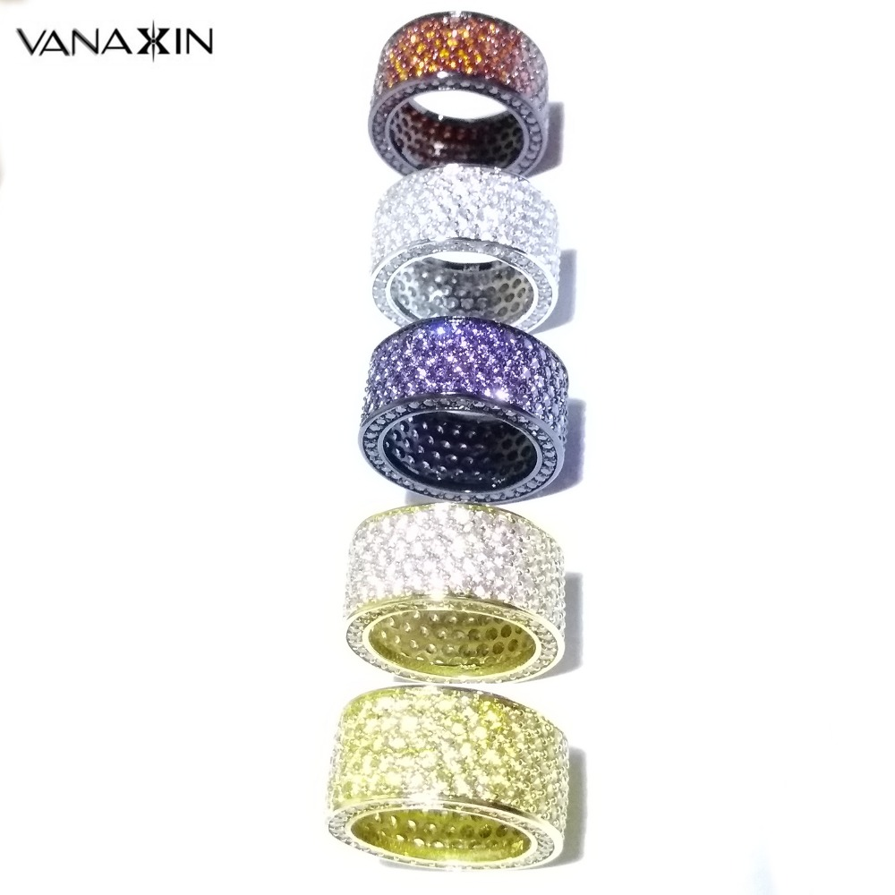 VANAXIN Bling Bling Cubic Zirconia Rings For Women Men Hip Hop Round CZ Purple Yellow Red White Crystal Fashion Jewelry Gift Box