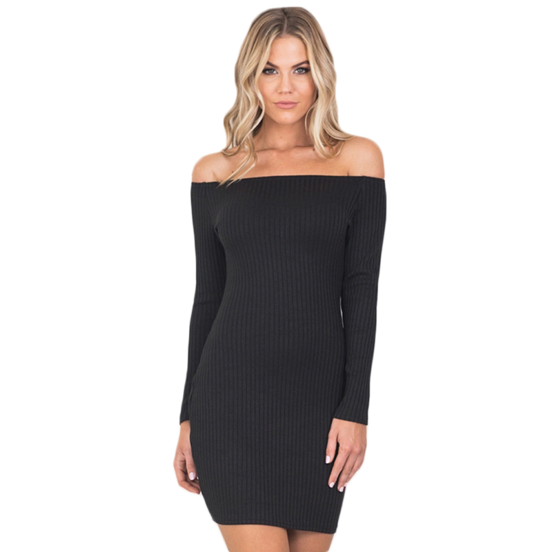 2018 Summer Black Solid Slim Women Dress Off Shoulder Knitted Sheath Mini Dress Casual Empire Chic Female Warp Dress женское платье summer dress 2015cute o women dress