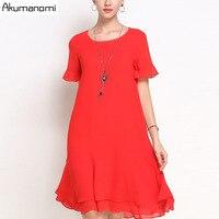 Summer Chiffon Dress Women Clothing Black Red O neck Flare Short Sleeve Double Hem Dress Plus Size 5XL 4XL 3XL 2XL XL L M