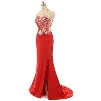 Backlackgirl di Alta Qualità Red Mermaid Prom Dresses Senza Maniche In Rilievo di Cristallo lucido Abito Da Sera In Chiffon Backless Abiti Da Festa
