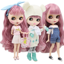 ICY factory blyth doll 1/6 bjd white skin joint body pink mix hair BL1063/2352 doll with clothes and shoes 30cm