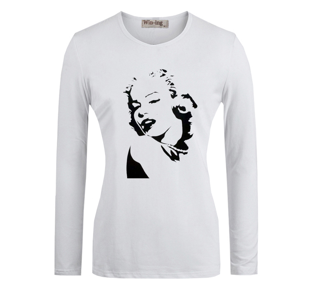 1c4b2682 Sexy Goddess Marilyn Monroe Sketch Design Pattern Long Sleeves T Shirt  Women's Girl's Graphic Tees Tops Tshirt-in T-Shirts from Women's Clothing  on ...