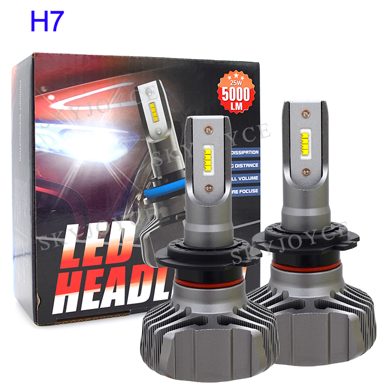 SKYJOYCE H4 LED Headlight Bulb H7 LED H1 H11 9005 HB3 9006 HB4 ZES Chips 50W 10000LM 6500K Car Light Auto LED Headlamp Bulbs 12V (4)