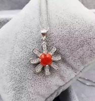 Natural red coral pendant S925 silver Natural gemstone Pendant Necklace trendy Elegant Lovely stars women girl party jewelry