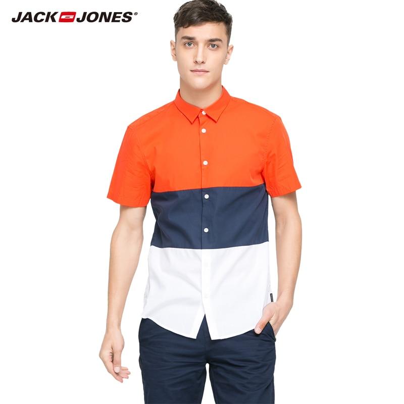 JackJones männer mode kurzarm baumwolle patchwork shirts männlichen casual stil shirt 215204029