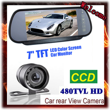 цена на 28MM big butterfly Car Rear View Camera with Monitor 7 Tft Color Hd Screen Lcd Car Rear View Mirror Dvd Monitor Reverse Backup