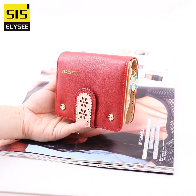 Fashion Women Small Coin Purse Mini Girl Wallets Lace Flower Leather Money Bags Card Holder Clutch 3 Fold High Quality Designer