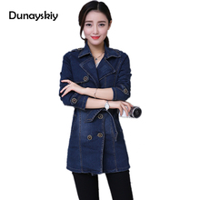 Double-breasted Denim women Jacket with Sashes Women Spring Fashion Turn-down Collar Long Sleeves Jeans Coat Female Tops casual