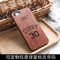For IPhone All Models Luxury Real Wood Basketball Star Wood Phone Case For IPhone 7 4