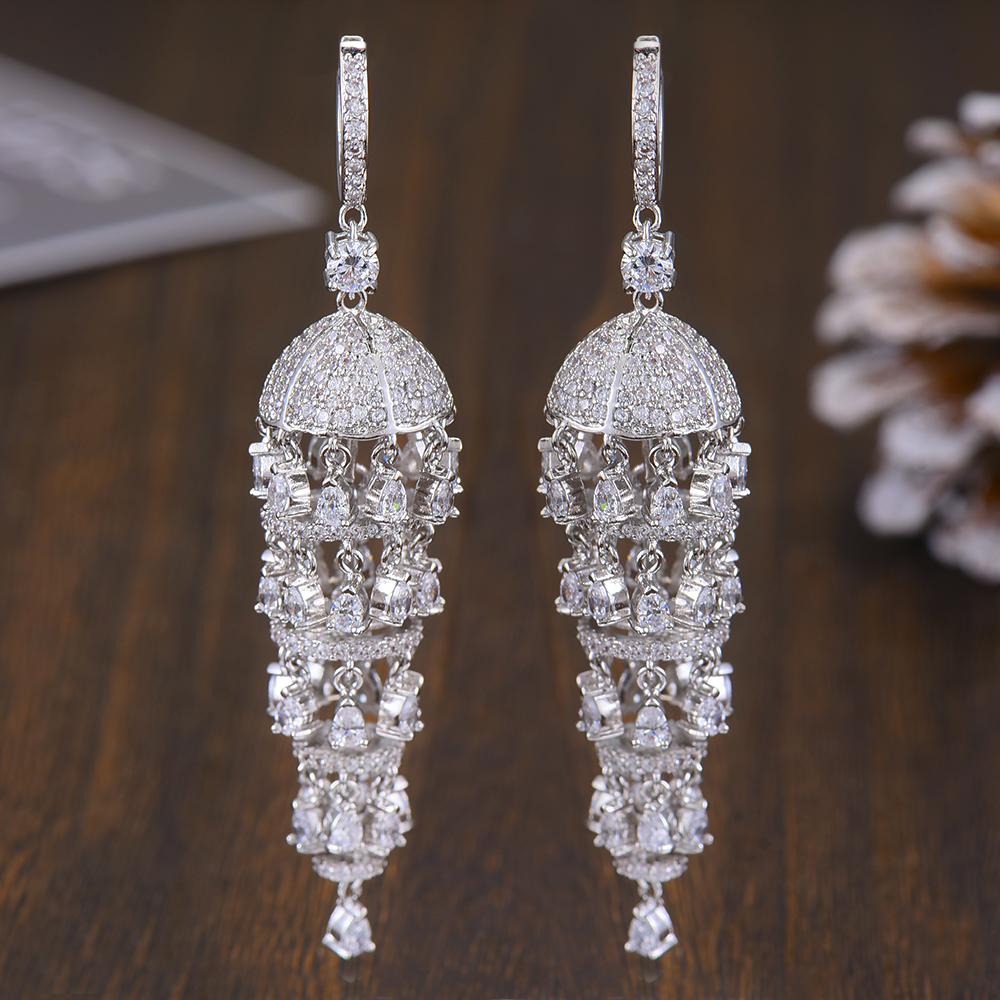 Image 4 - GODKI Luxury Trendy Long Tassel Rain Drop Dangle Earrings for 