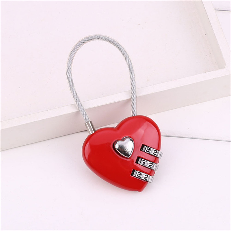 Red Number 0-9 Heart Shape 3 Digit Resettable Combination Lock Замок