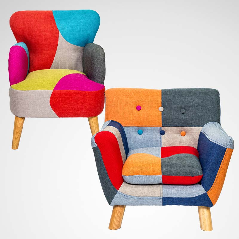 Chpermore Children lazy sofa Simple mini rural patchwork personality Comfortable Living room leisure sofa Kids armchair