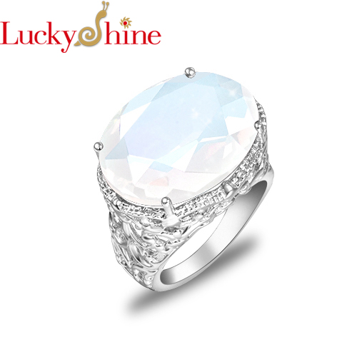 Luckyshine New 16 * 12mm Woman Jewels Oval white moonstone Gems Silver Rings Engagement Ring Fashion Vintage Rings