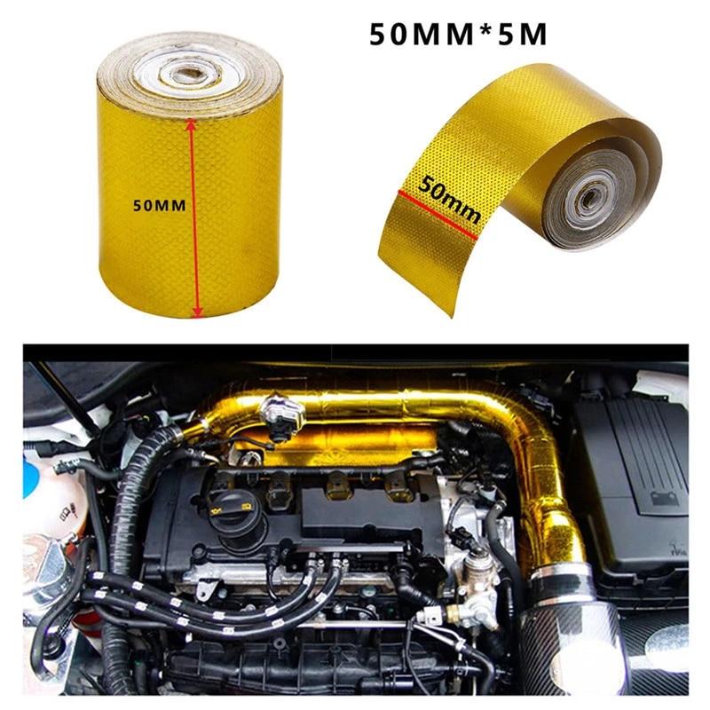 universal auto exhaust pipe decorative tape heat shield wrap tape gold aluminum foil tape car repair tool auto acccessories