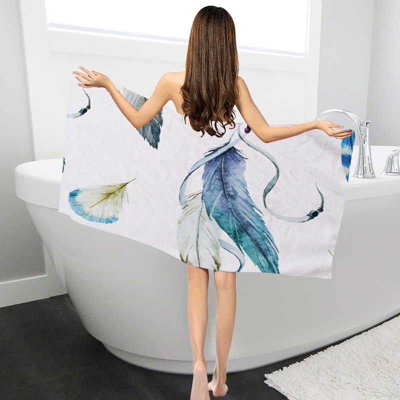 Bath Towel Sets Feather: Polyester Towels Bathroom Beach Towels For Adults Colorful