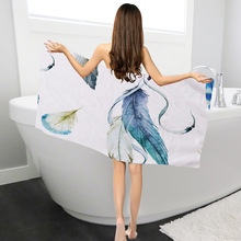 Polyester Towels Bathroom Beach For Adults Colorful Feather Printed Bath Woman Kids Picnic Mat Toallas De Ducha