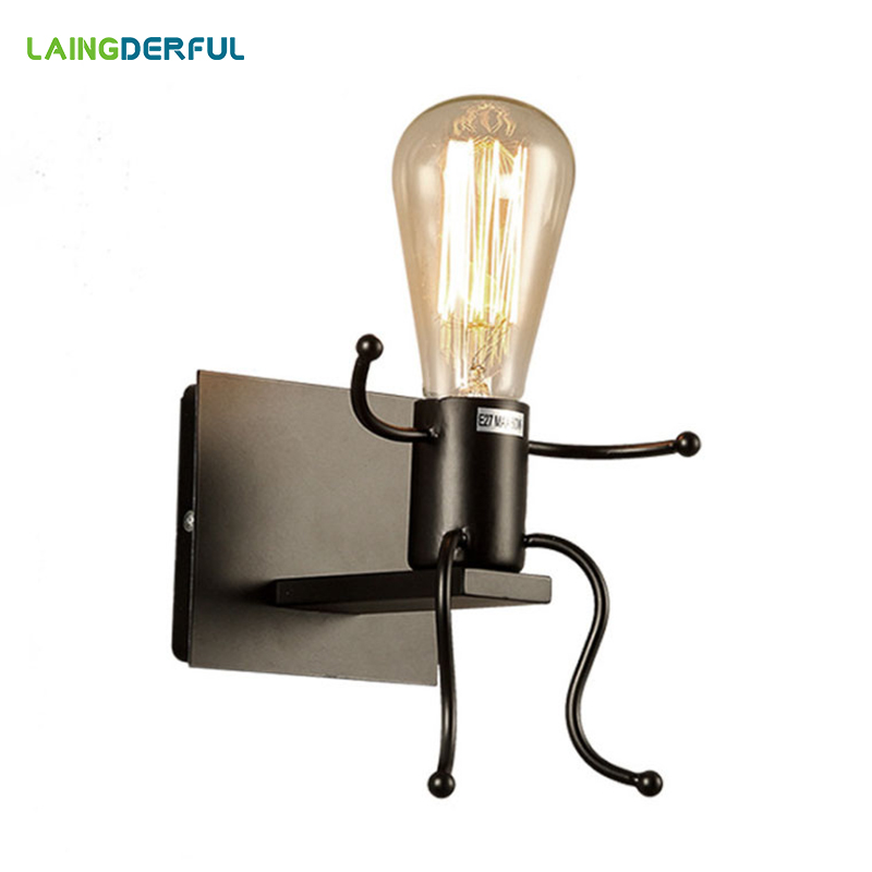 Vintage Metal LED Wall Lamps Creative Bedroom Bedside Wall Lights 1 2 Heads Industrial Decor Black
