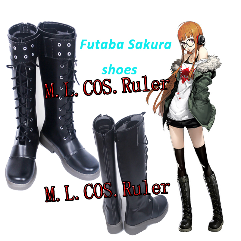 Persona 5 Futaba Sakura Cosplay Shoes Halloween Long Boots Custom Made Game Cos