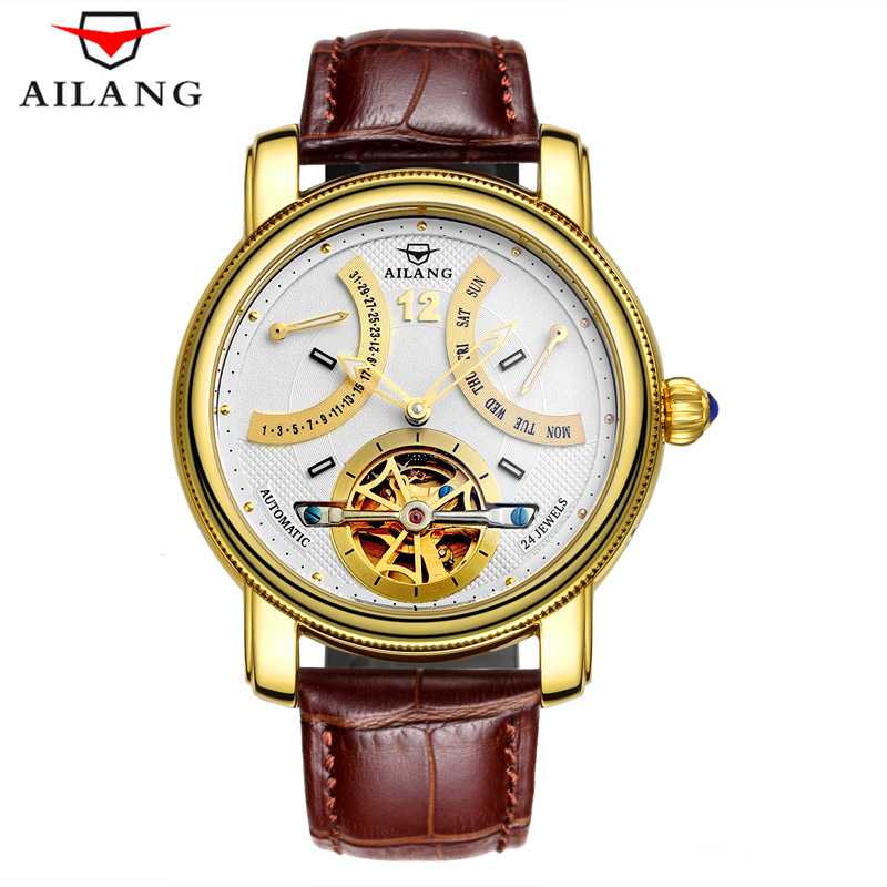 Luxury Business Sapphire Golden Watch Men Waterproof 30M Tourbillon Mens Sport Gold Clock Leather Automatic Mechanical Watches