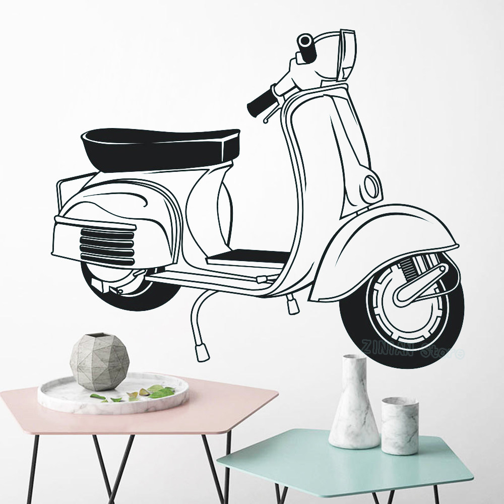 Vespa Roma Holiday Wall Sticker Bedroom Italy Motobike Wall Decal Living Room Kids Room Vinyl Home Decor