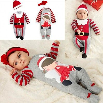 2 Pcs Newborn Baby boys Girls Xmas Santa Claus Rompers Infant Babies Kid Cute Christmas Romper+hat/headband Outfits Kids Clothes puseky 2017 infant romper baby boys girls jumpsuit newborn bebe clothing hooded toddler baby clothes cute panda romper costumes