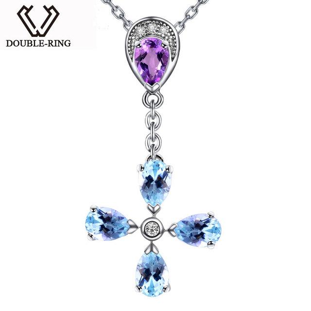DOUBLE-R Topázio Azul Colares Pingentes Mulheres Presente de Aniversário Pingente De Ametista 925 Sterling Silver Gemstone Fine Jewelry CAP02422A