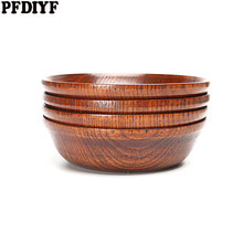 1PCS Creative Round Wooden Plate 11cmX3cm Dishes Breakfast Snack Serving Trays Salad Bowl Platter Home Dinner Food Holder(China)
