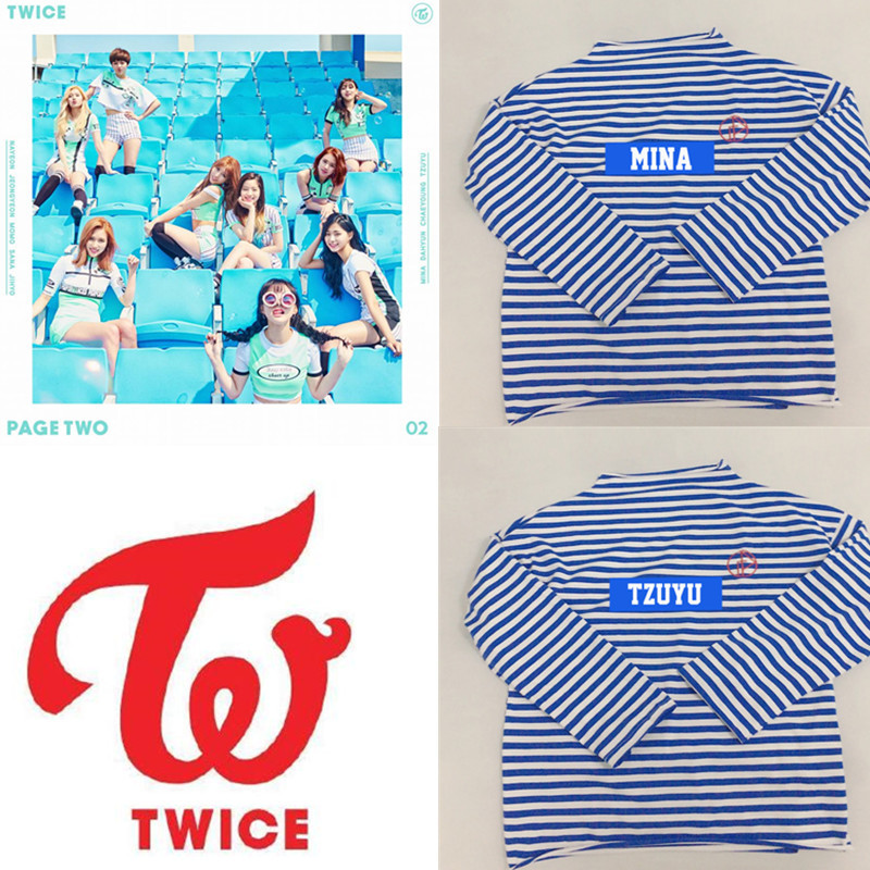K-pop Twice Album Concert Long-sleeved Korean Version Of Broad-sleeved Couples Loose Striped Embroidered Sweatshirts High Standard In Quality And Hygiene Women's Clothing