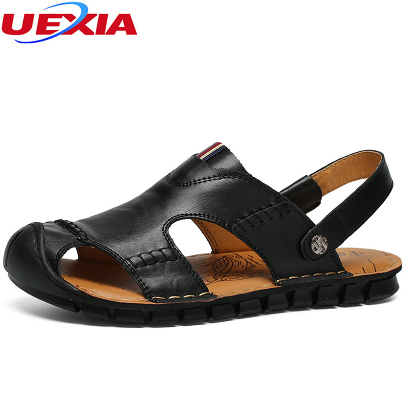UEXIA Leather Men Sandals Black Brown Summer Shoes Breathable Beach Shoes Casual New Fashion Summer Leisure Beach High Quality