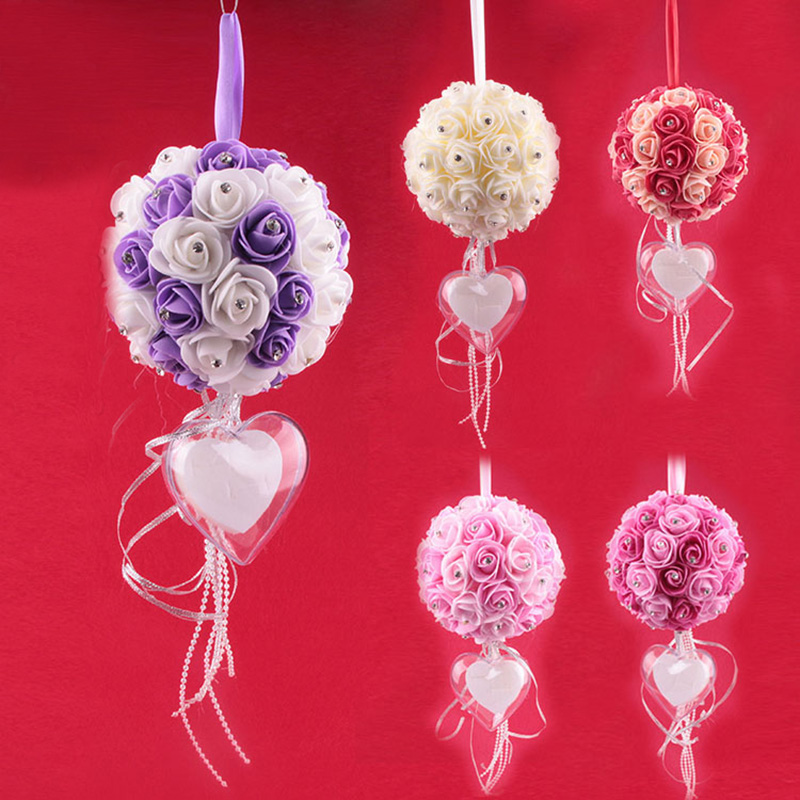 cheap engagement ring box pillow cushion foam rose artificial flowers hanging hydrangea pompom wedding decoration ring boxes - Christmas Ornament Ring Box