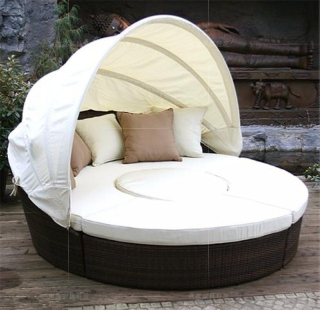 Round Rattan Sofa Bed Folding Minimalist Modern Large Circular Outdoor