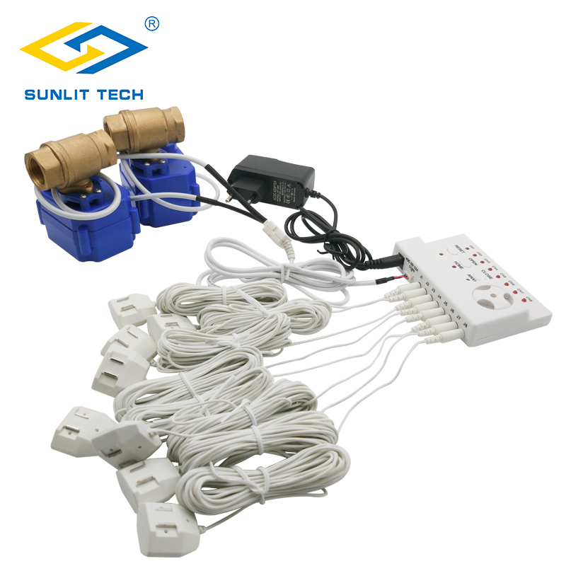 Water Flood Alarm Sensor Detector System with 1/2 inch Leaking Water Valve and 6m Long Sensitive Line high quality electronic water leak detector with 1 2 valve and 2pcs 6m sensor wires retail or wholesale drop shipping