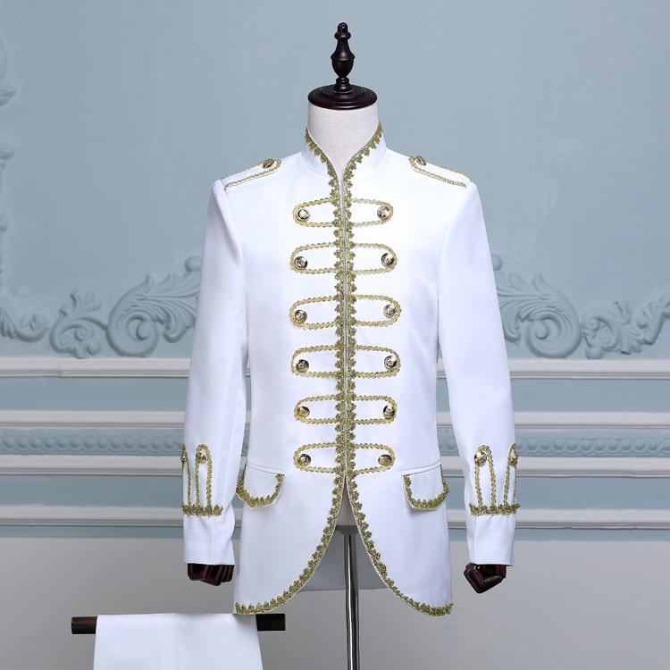 (veste + pantalon) costume masculin noir bleu blanc costumes magicien - Vêtements pour hommes - Photo 4