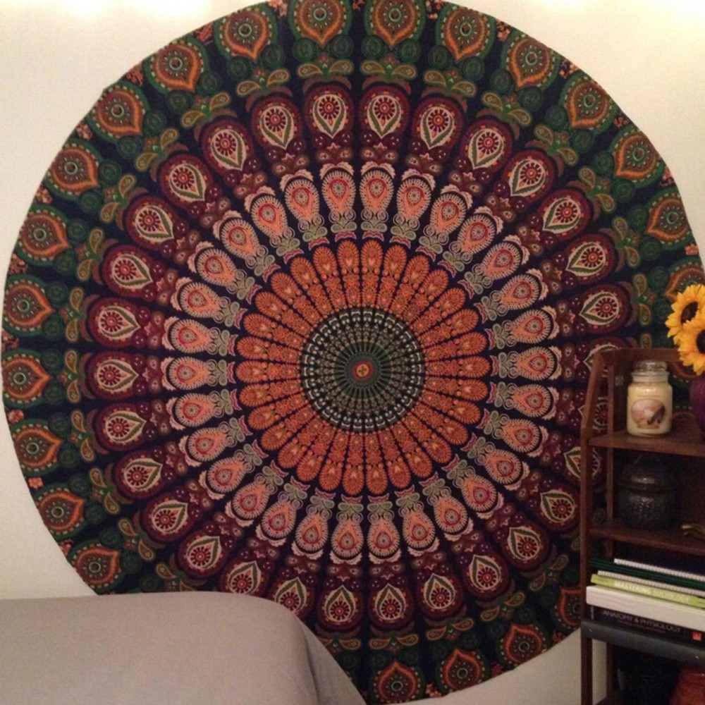 Round Tablecloth Beach Pool Home Shower Towel Blanket Table Cloth Yoga Mat Nappe Ronde#P