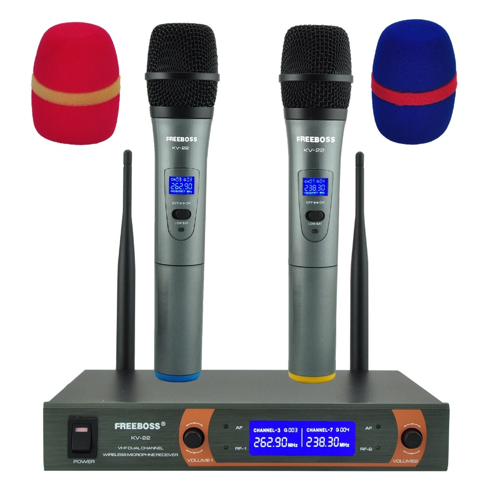 цена на Freeboss KV-22 VHF 2 Handheld Wireless Microphone Dynamic Capsule Family Party Mixed Output Wireless Microphone