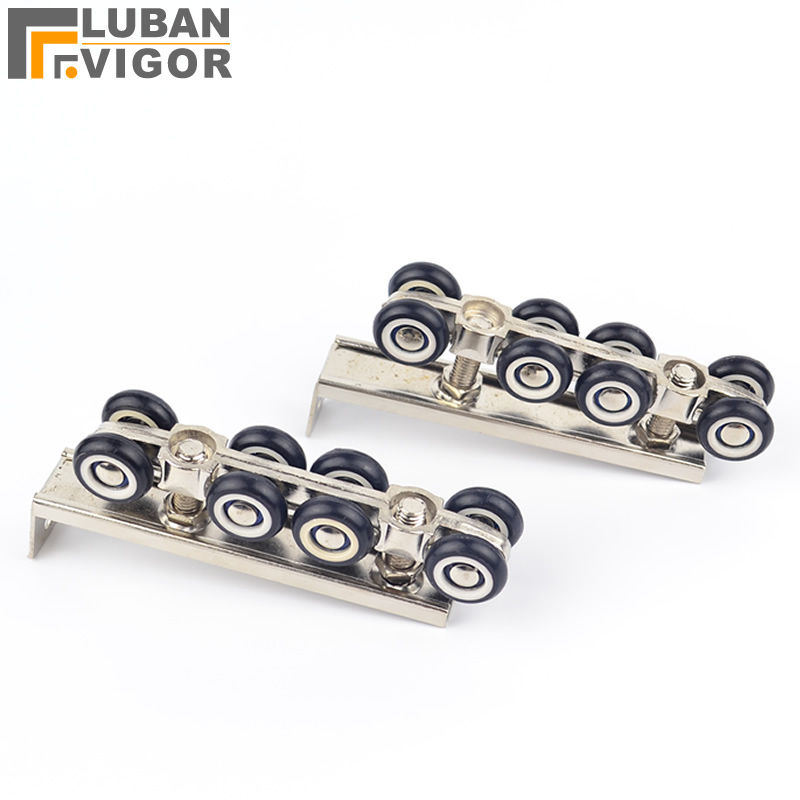 8 wheels pulley, hardware Slide Doors pulley, Sliding doors hanging rail wheel,for 1 door/ 30 * 30 hanging rail free shipping door roller side mounted sliding door crane pulley wooden doors track slide pulley hanging rail