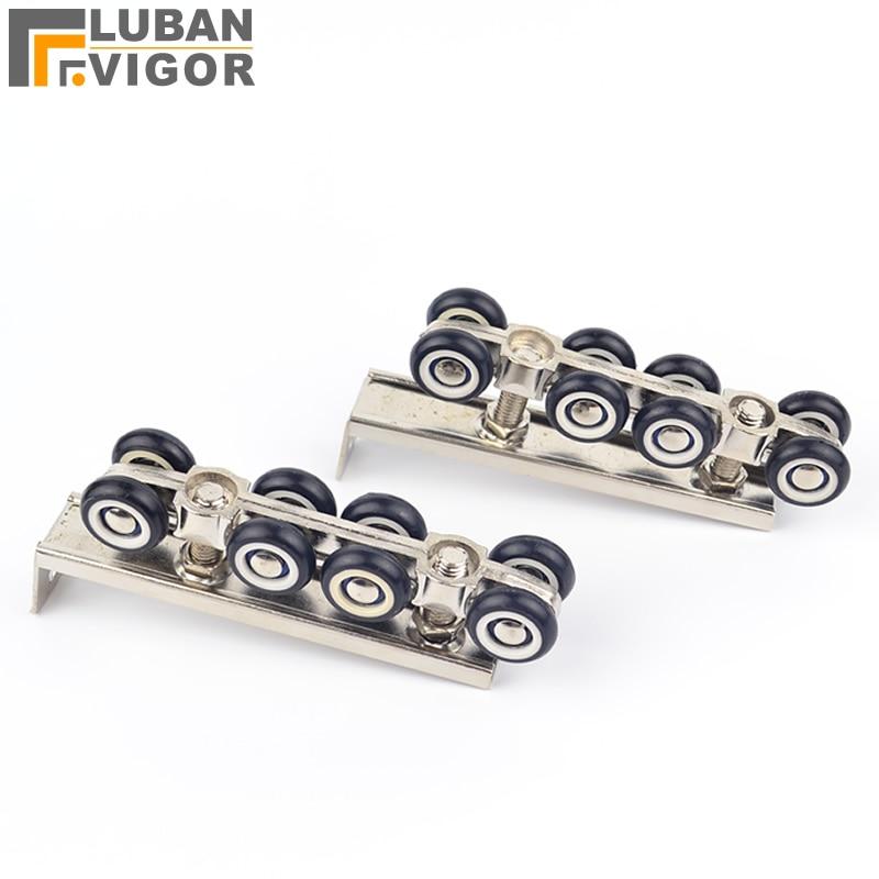 8 wheels pulley, hardware Slide Doors pulley, Sliding doors hanging rail wheel,for 1 door/ 30 * 30 hanging rail