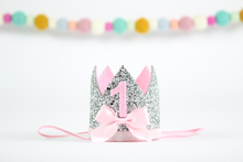 First Birthday Crown 1st Cake Glitter Bow Girl Party Princess One Year Old Hat Silver