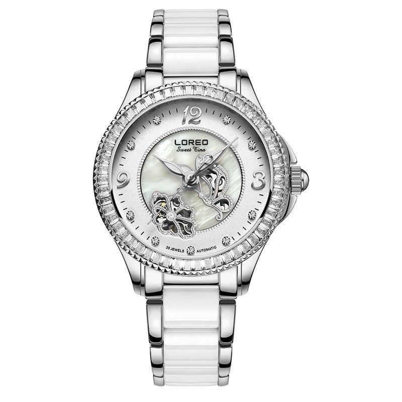 Loreo Brand Luxury Women Mechanical Wristwatches Leather Strap Watch Female Gold Scorpio