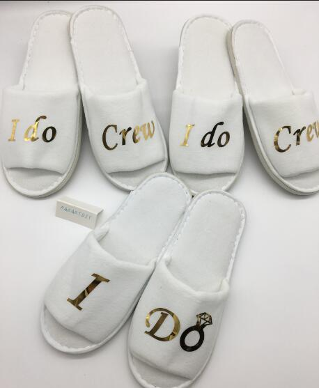 612a7bd8748 US $9.53 10% OFF|Personalised gold Wedding Bridesmaid Bridal Bride Slippers  I do crew Hens Night Bachelorette Spa Slippers party favors gifts-in Party  ...